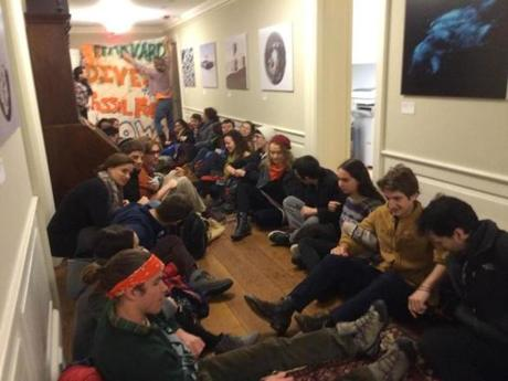 Students gathered in protest.